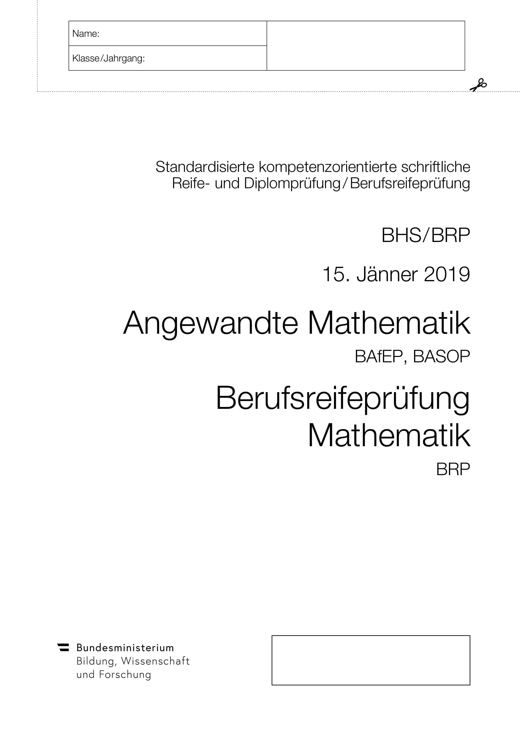 Berufsreifeprüfung Jänner 2019
