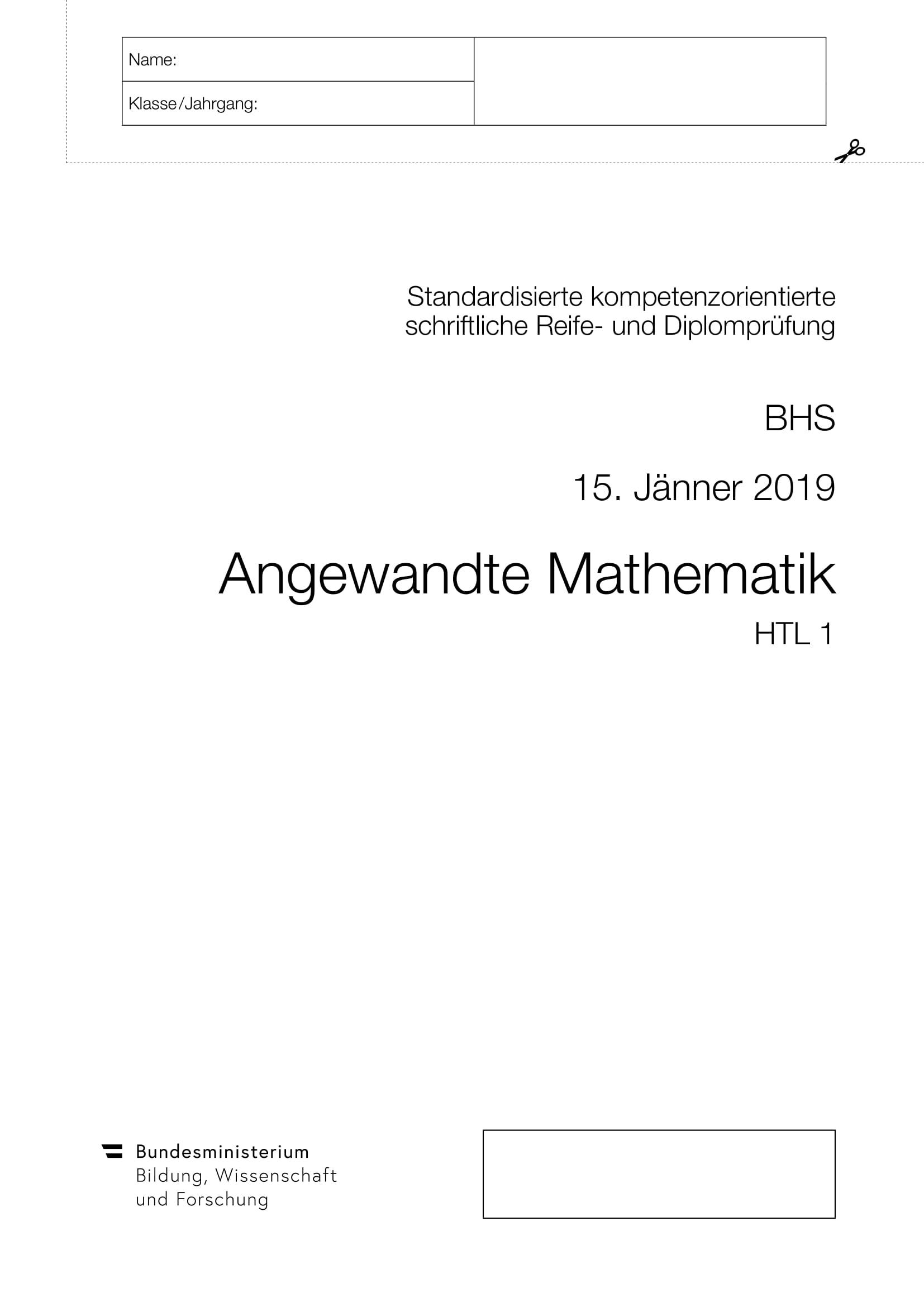Matura HTL1 Jänner 2019