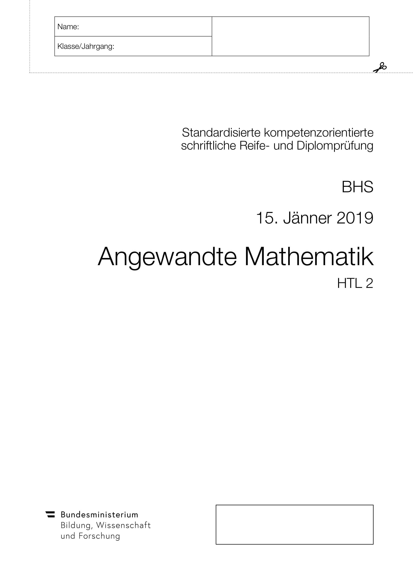 Matura HTL2 Jänner 2019